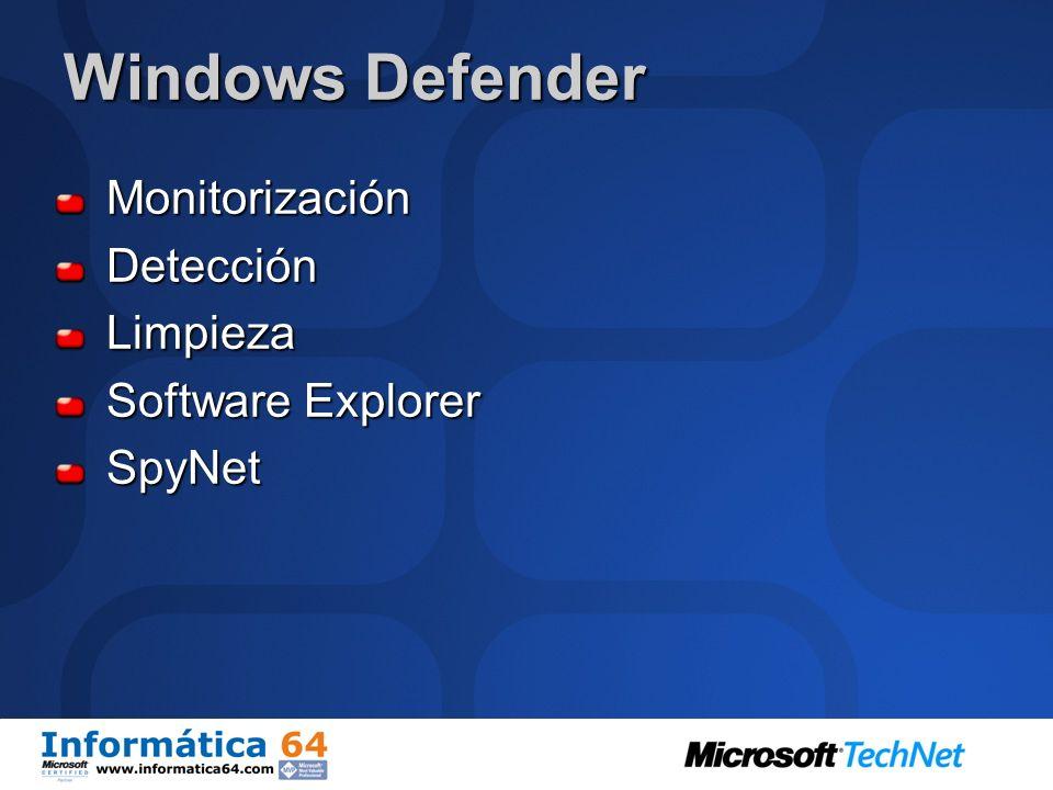 Windows Defender Monitorización Detección Limpieza Software Explorer