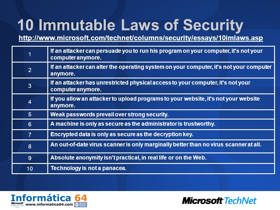 10 Immutable Laws of Security