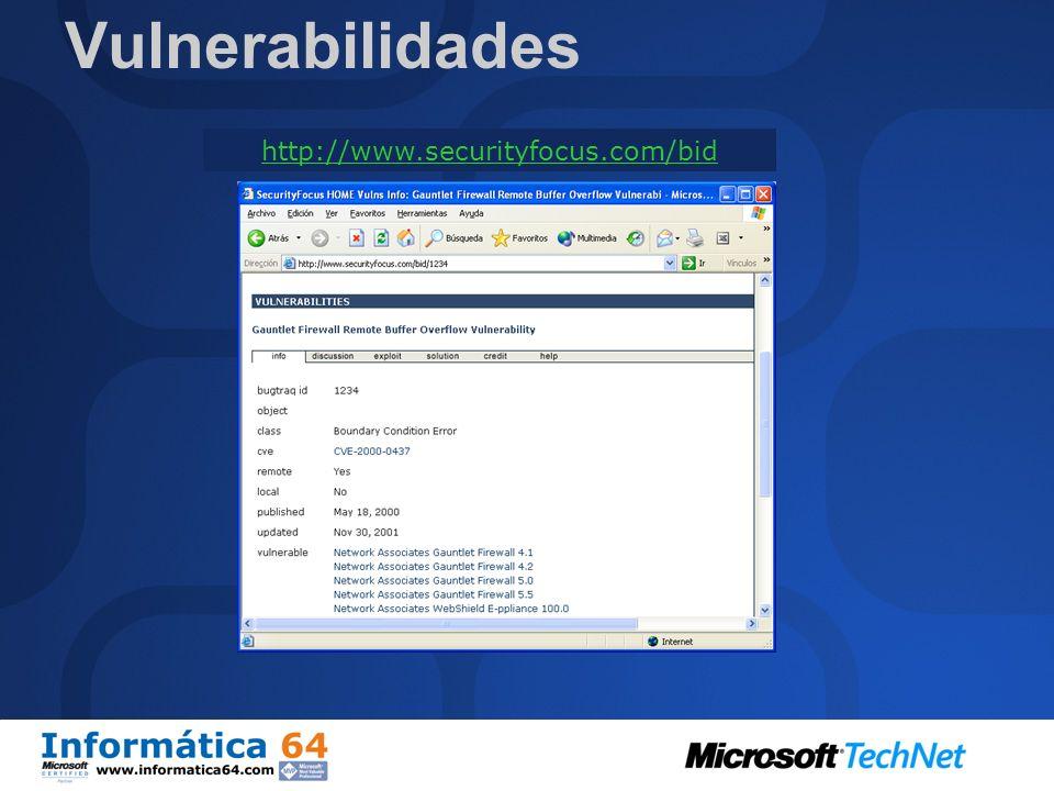 Vulnerabilidades http://www.securityfocus.com/bid Es difícil engañar