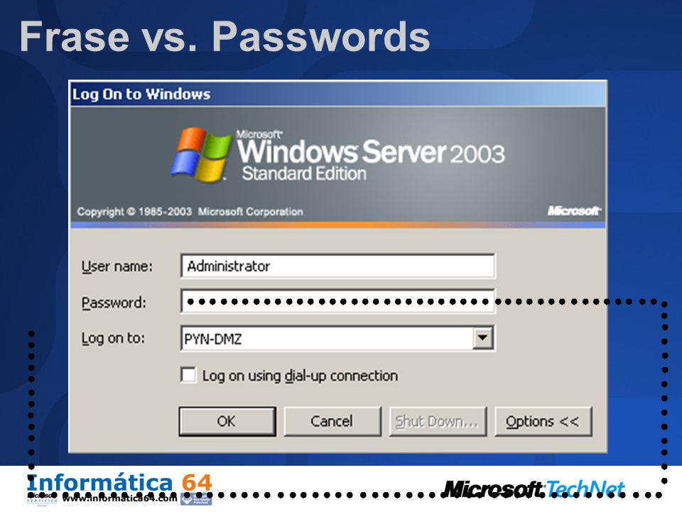 Frase vs. Passwords ● ● ● ● ● ● ● ● ● ● ● ● ● ● ● ● ● ● ● ● ● ● ● ● ●