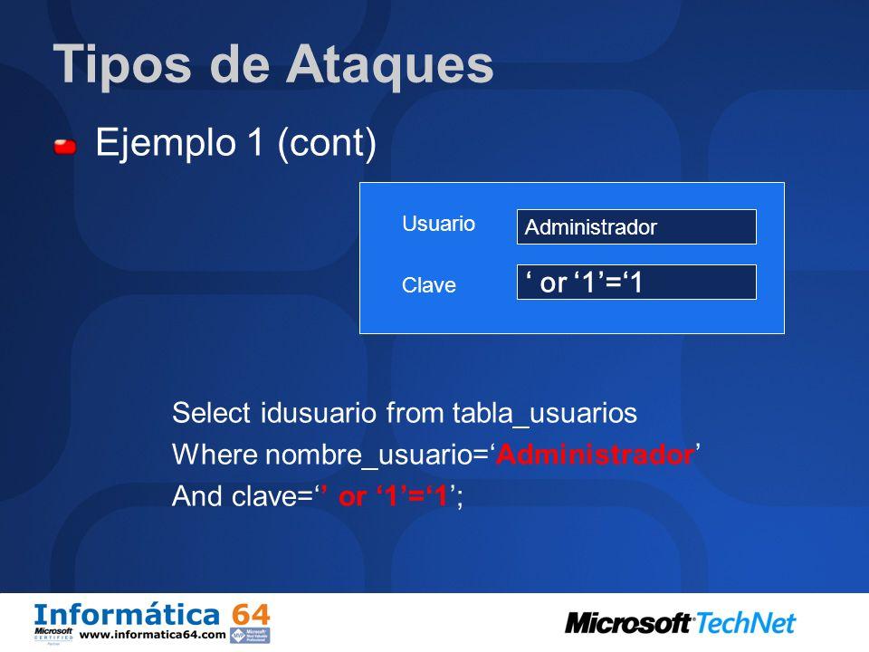 Tipos de Ataques Ejemplo 1 (cont) Select idusuario from tabla_usuarios