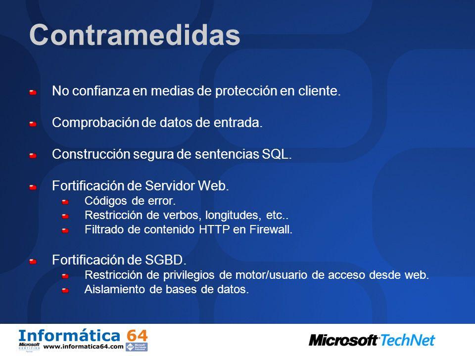 Contramedidas No confianza en medias de protección en cliente.