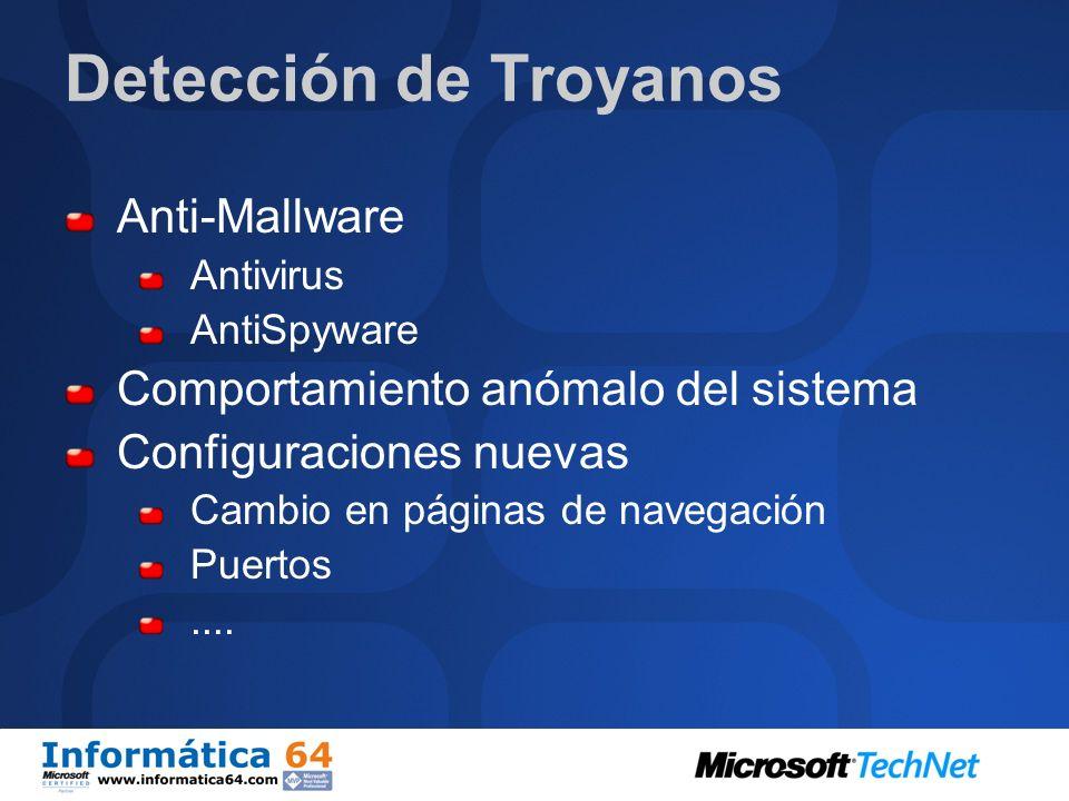 Detección de Troyanos Anti-Mallware Comportamiento anómalo del sistema