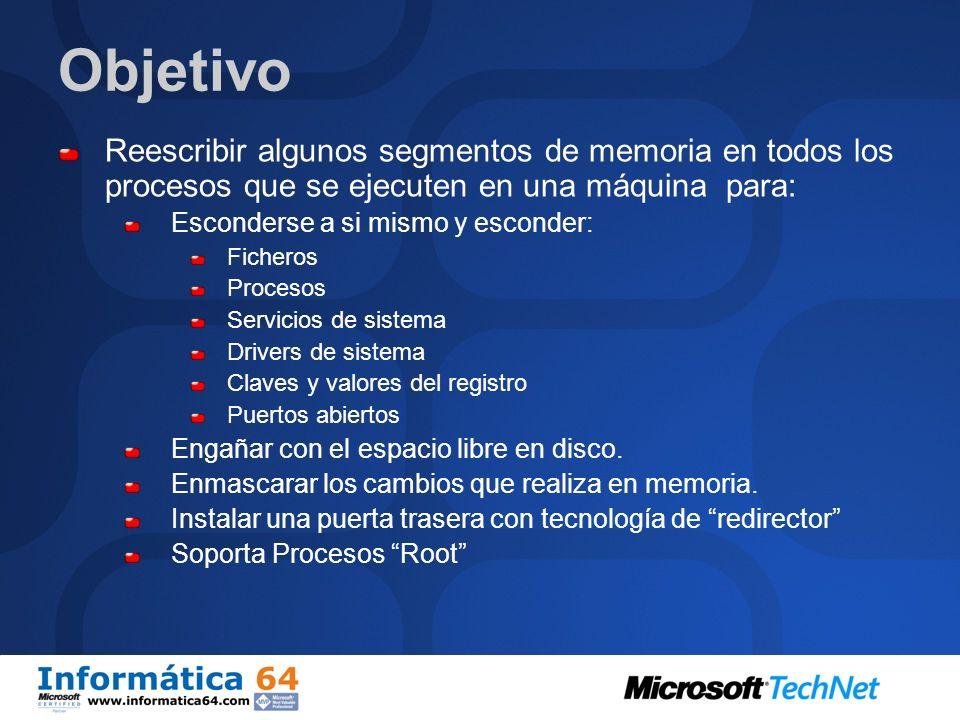 Objetivo Reescribir algunos segmentos de memoria en todos los procesos que se ejecuten en una máquina para: