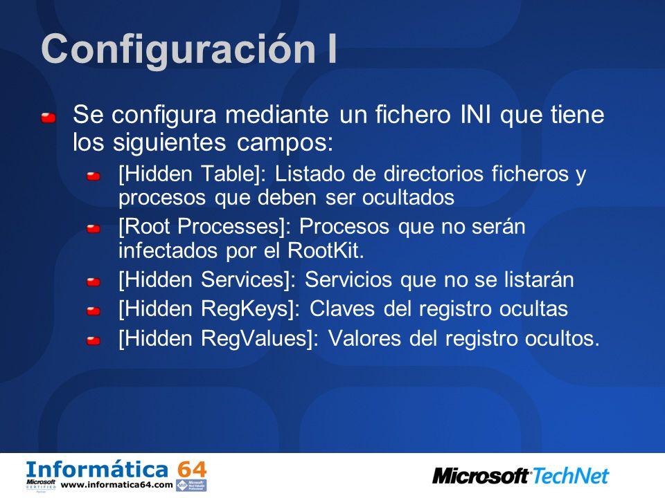Configuración I Se configura mediante un fichero INI que tiene los siguientes campos: