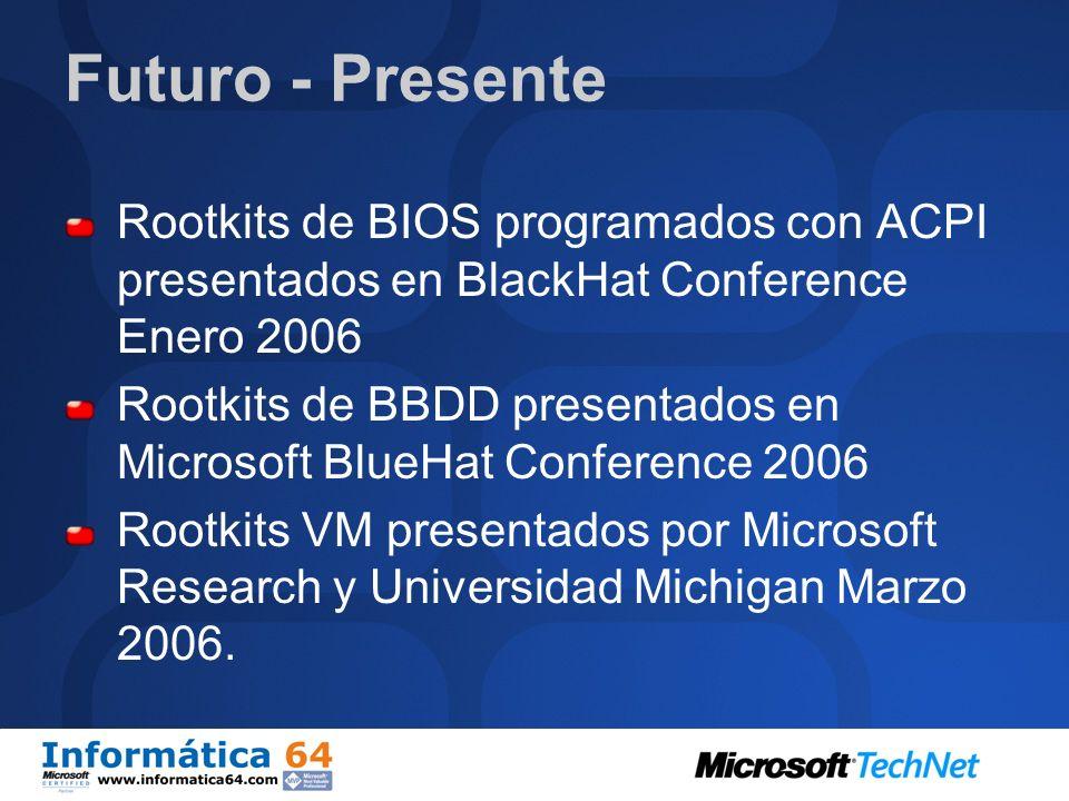 Futuro - PresenteRootkits de BIOS programados con ACPI presentados en BlackHat Conference Enero 2006.