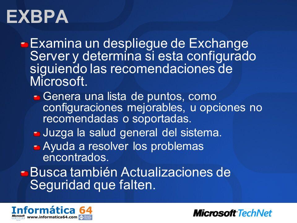 EXBPA Examina un despliegue de Exchange Server y determina si esta configurado siguiendo las recomendaciones de Microsoft.
