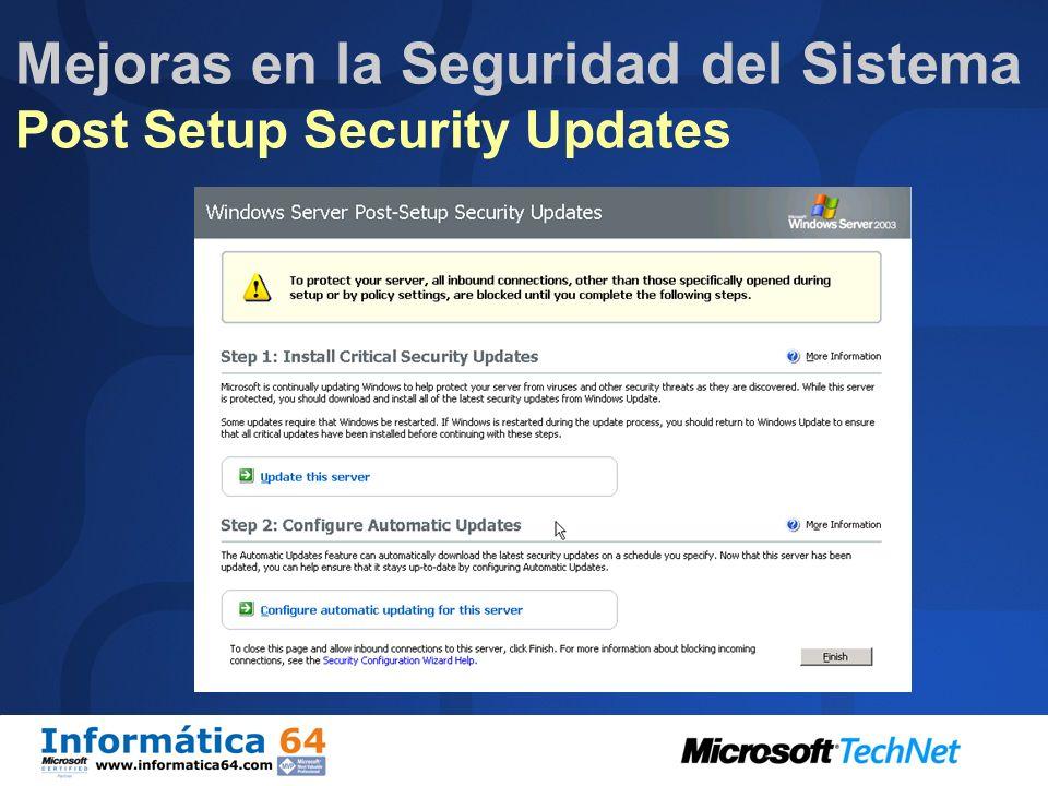 Mejoras en la Seguridad del Sistema Post Setup Security Updates