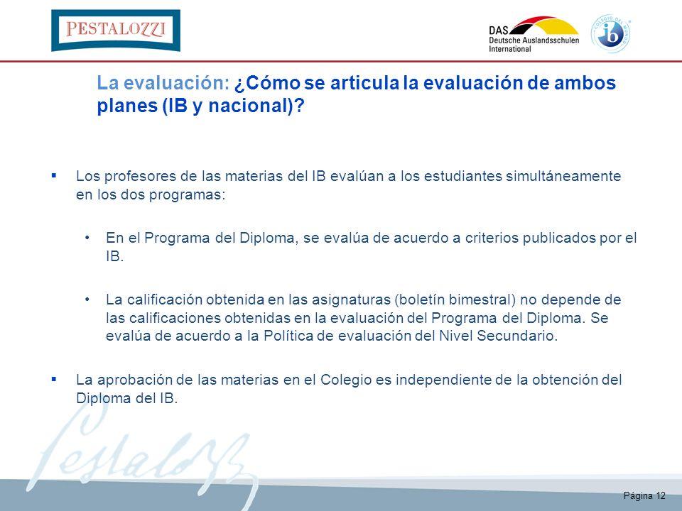 La evaluación: ¿Cómo se articula la evaluación de ambos planes (IB y nacional)