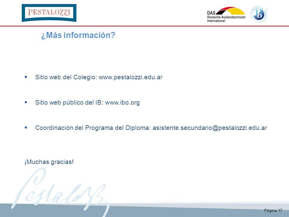 ¿Más información Sitio web del Colegio: www.pestalozzi.edu.ar