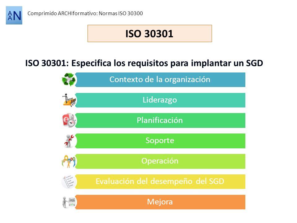ISO 30301 ISO 30301: Especifica los requisitos para implantar un SGD