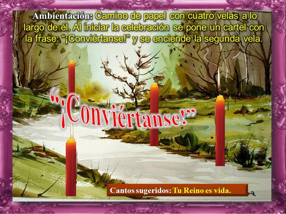 Ambientación: Camino de papel con cuatro velas a lo largo de él