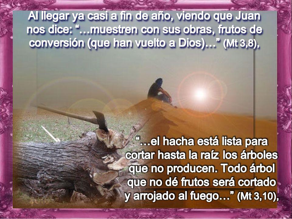 Al llegar ya casi a fin de año, viendo que Juan nos dice: …muestren con sus obras, frutos de conversión (que han vuelto a Dios)… (Mt 3,8),