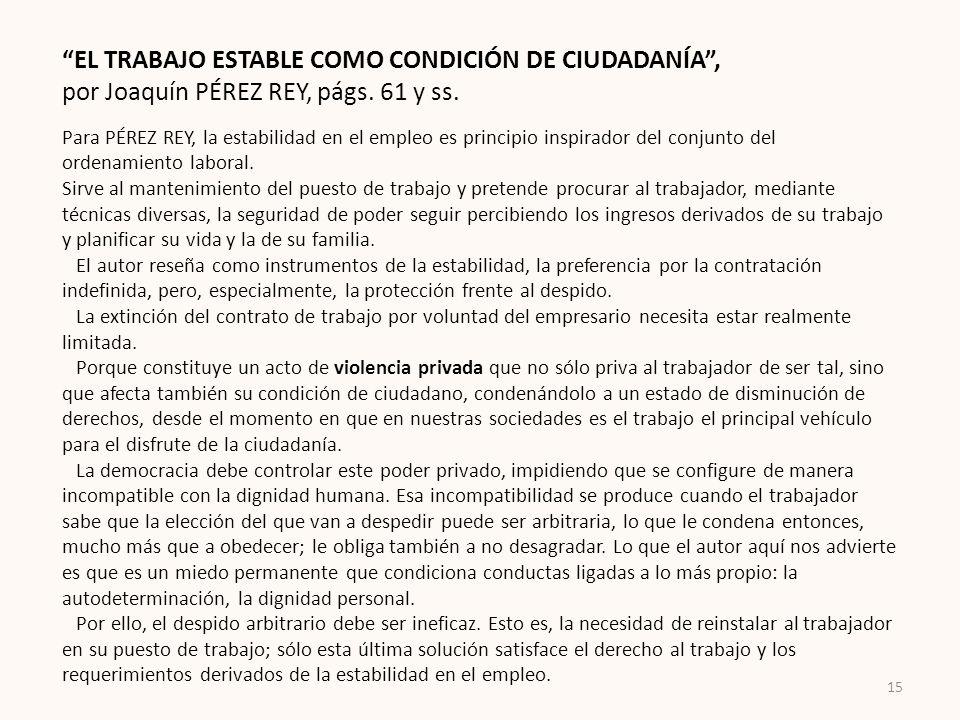 EL TRABAJO ESTABLE COMO CONDICIÓN DE CIUDADANÍA ,