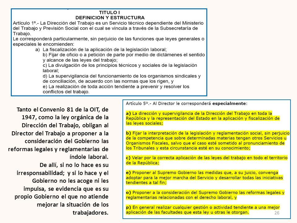 Tanto el Convenio 81 de la OIT, de 1947, como la ley orgánica de la Dirección del Trabajo, obligan al Director del Trabajo a proponer a la consideración del Gobierno las reformas legales y reglamentarias de índole laboral.