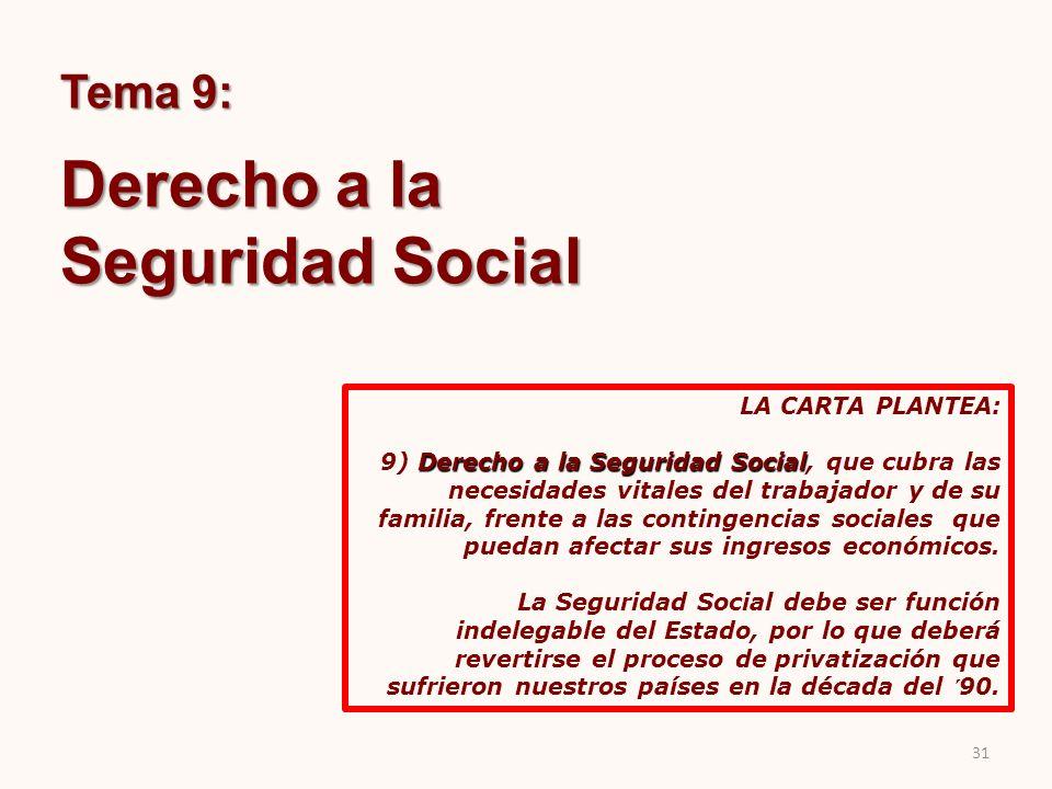 Derecho a la Seguridad Social Tema 9: LA CARTA PLANTEA: