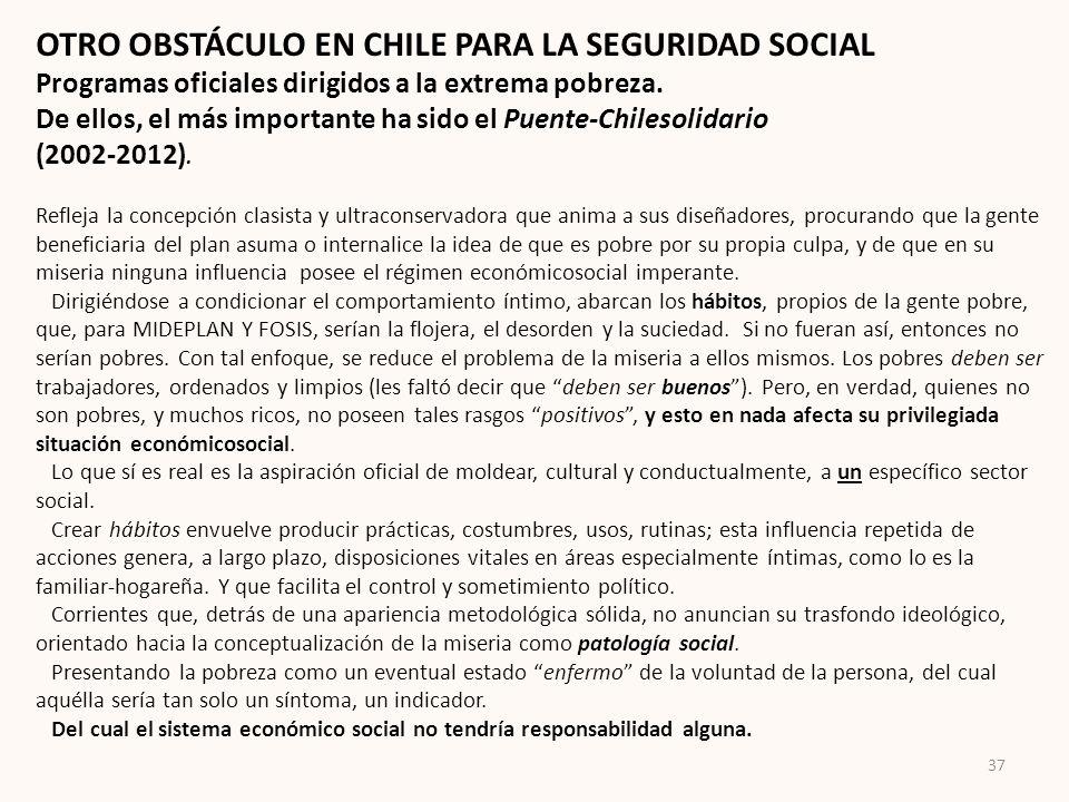OTRO OBSTÁCULO EN CHILE PARA LA SEGURIDAD SOCIAL