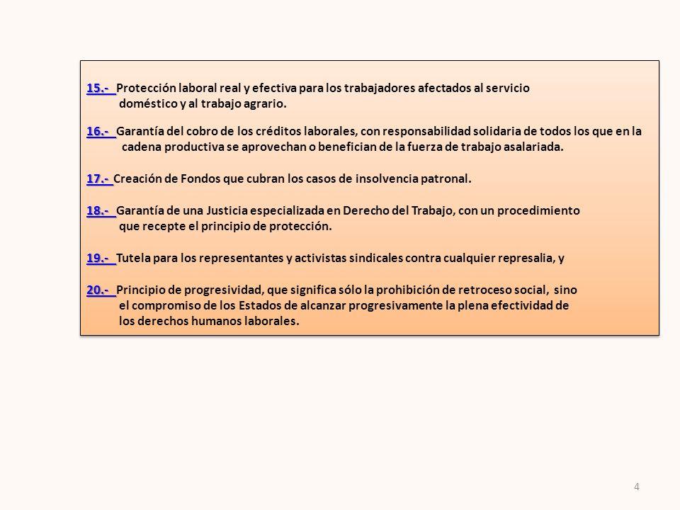 15.- Protección laboral real y efectiva para los trabajadores afectados al servicio