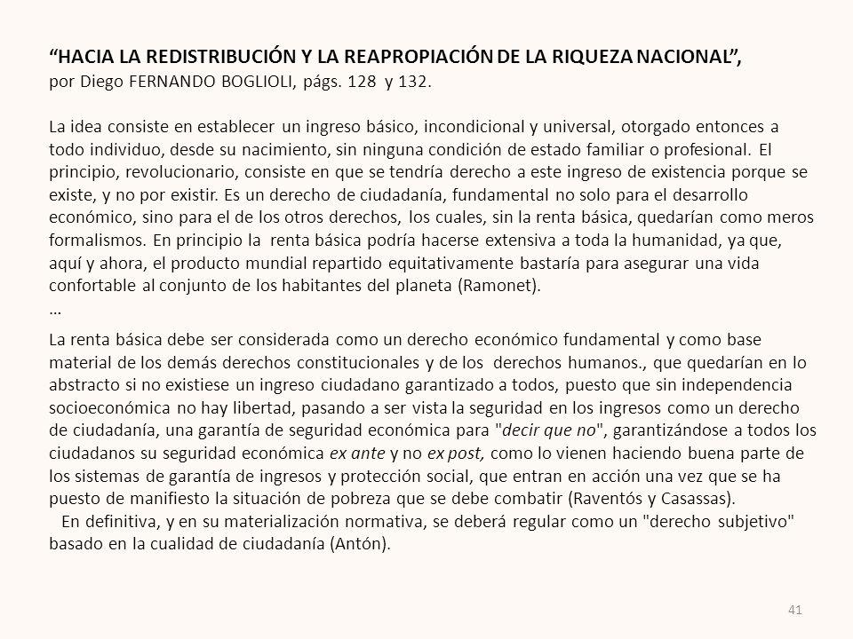 HACIA LA REDISTRIBUCIÓN Y LA REAPROPIACIÓN DE LA RIQUEZA NACIONAL ,