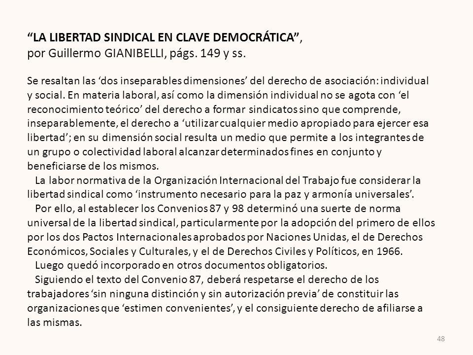 LA LIBERTAD SINDICAL EN CLAVE DEMOCRÁTICA ,