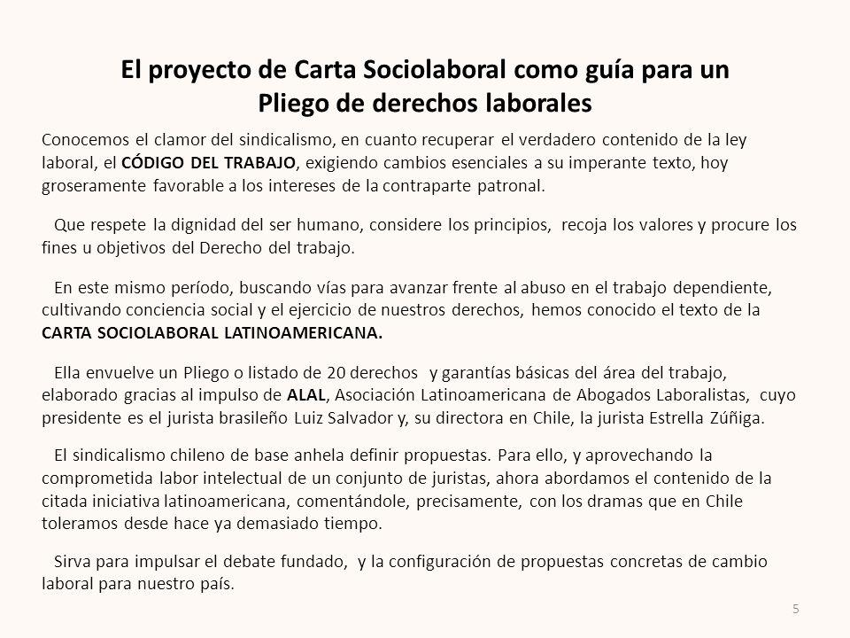 El proyecto de Carta Sociolaboral como guía para un