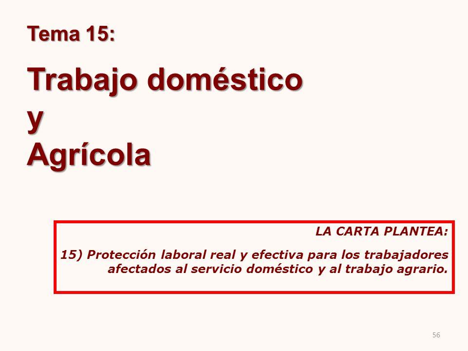 Trabajo doméstico y Agrícola Tema 15: LA CARTA PLANTEA: