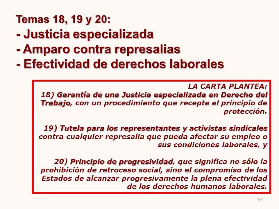 - Justicia especializada - Amparo contra represalias