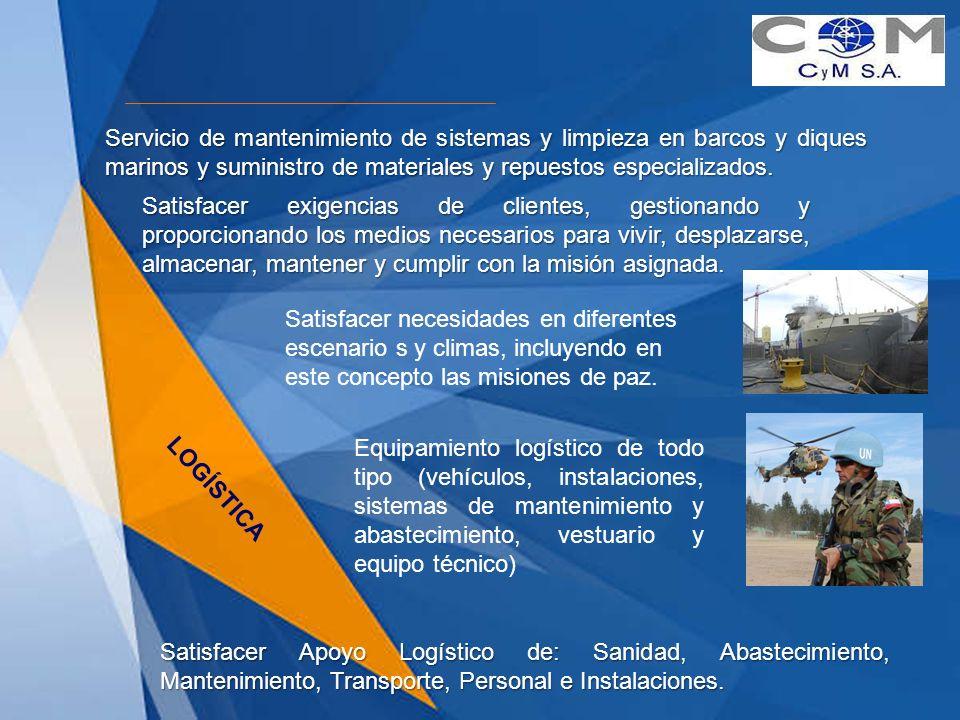 Servicio de mantenimiento de sistemas y limpieza en barcos y diques marinos y suministro de materiales y repuestos especializados.