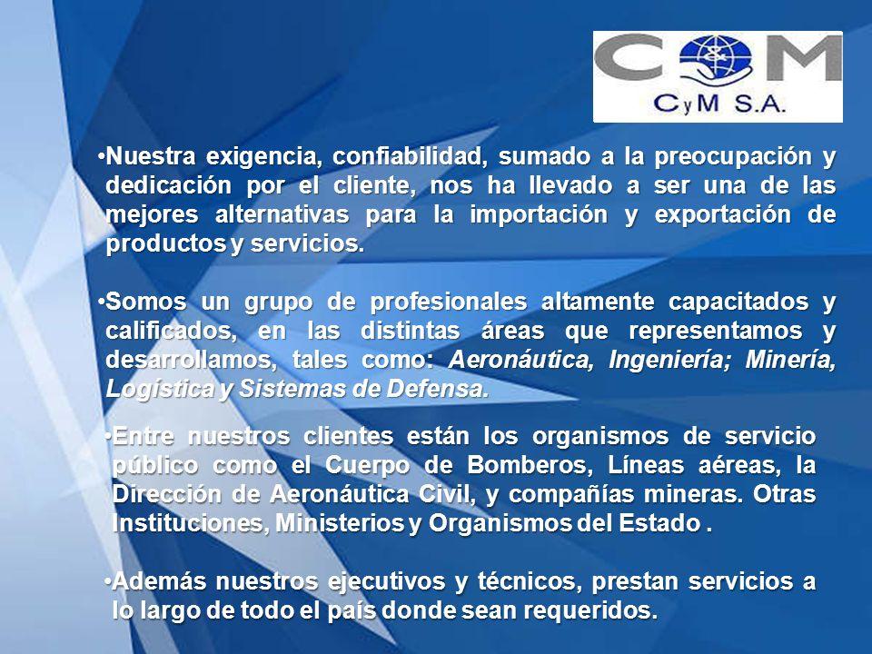 Nuestra exigencia, confiabilidad, sumado a la preocupación y dedicación por el cliente, nos ha llevado a ser una de las mejores alternativas para la importación y exportación de productos y servicios.