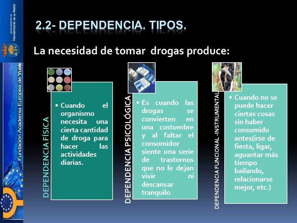 La necesidad de tomar drogas produce: