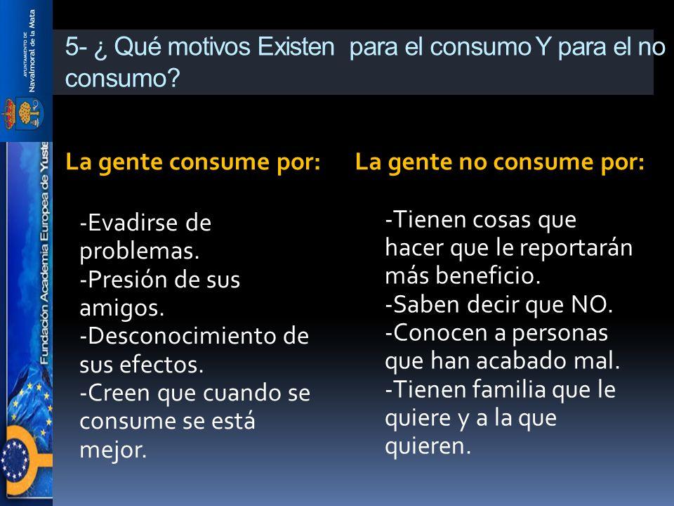 5- ¿ Qué motivos Existen para el consumo Y para el no consumo