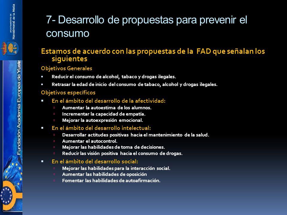 7- Desarrollo de propuestas para prevenir el consumo