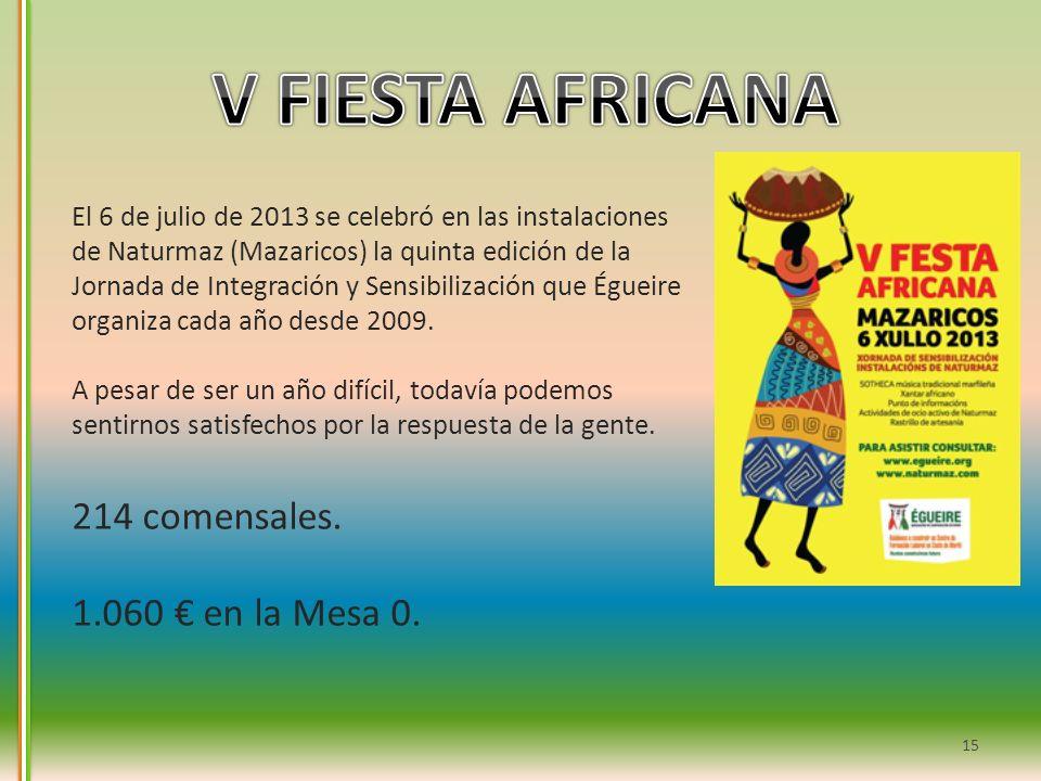 V FIESTA AFRICANA 214 comensales. 1.060 € en la Mesa 0.