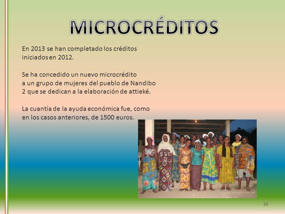 MICROCRÉDITOS En 2013 se han completado los créditos iniciados en 2012. Se ha concedido un nuevo microcrédito.