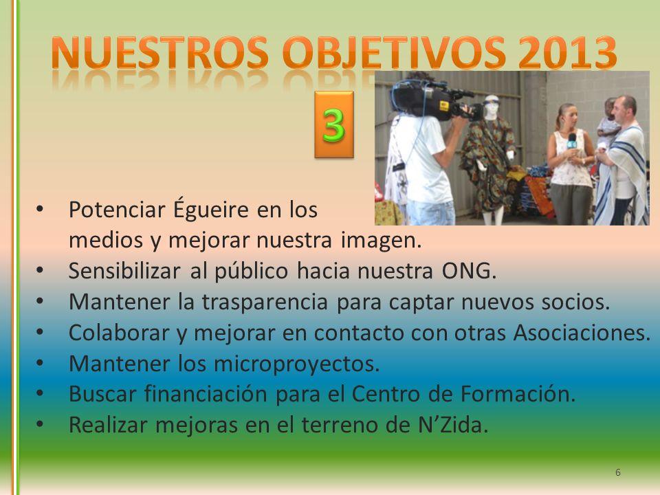 Nuestros objetivos 2013 3. Potenciar Égueire en los medios y mejorar nuestra imagen. Sensibilizar al público hacia nuestra ONG.