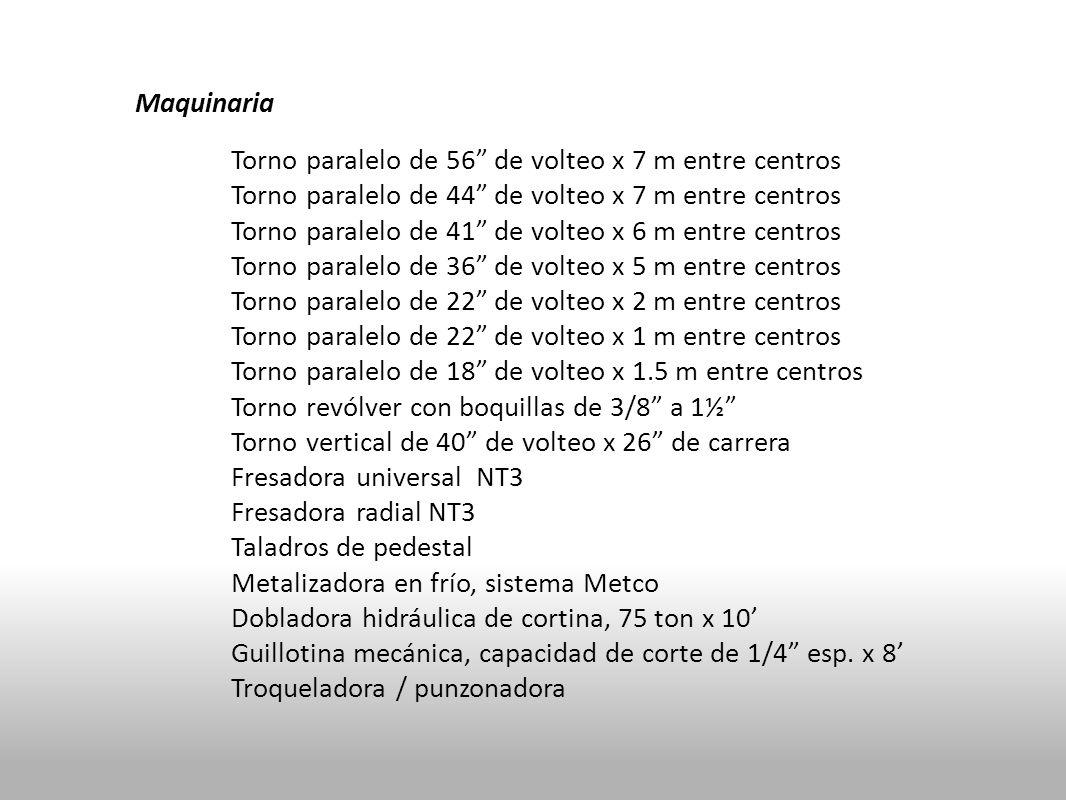 Maquinaria Torno paralelo de 56 de volteo x 7 m entre centros. Torno paralelo de 44 de volteo x 7 m entre centros.