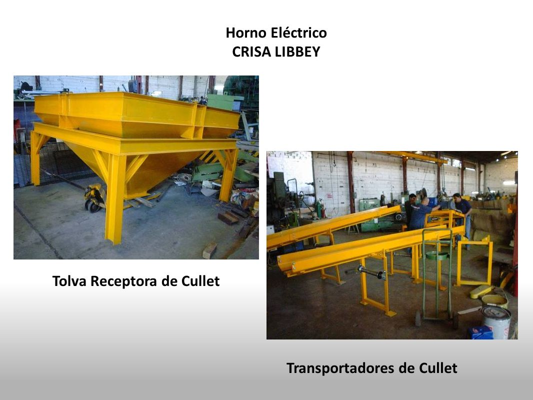 Horno Eléctrico CRISA LIBBEY Tolva Receptora de Cullet Transportadores de Cullet