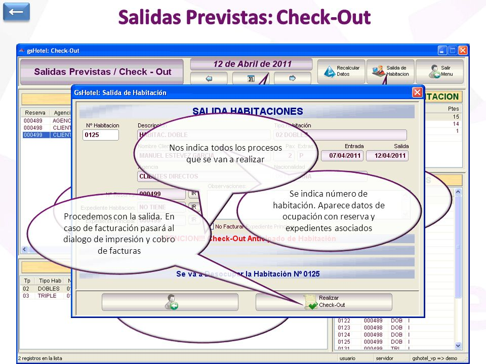 Salidas Previstas: Check-Out