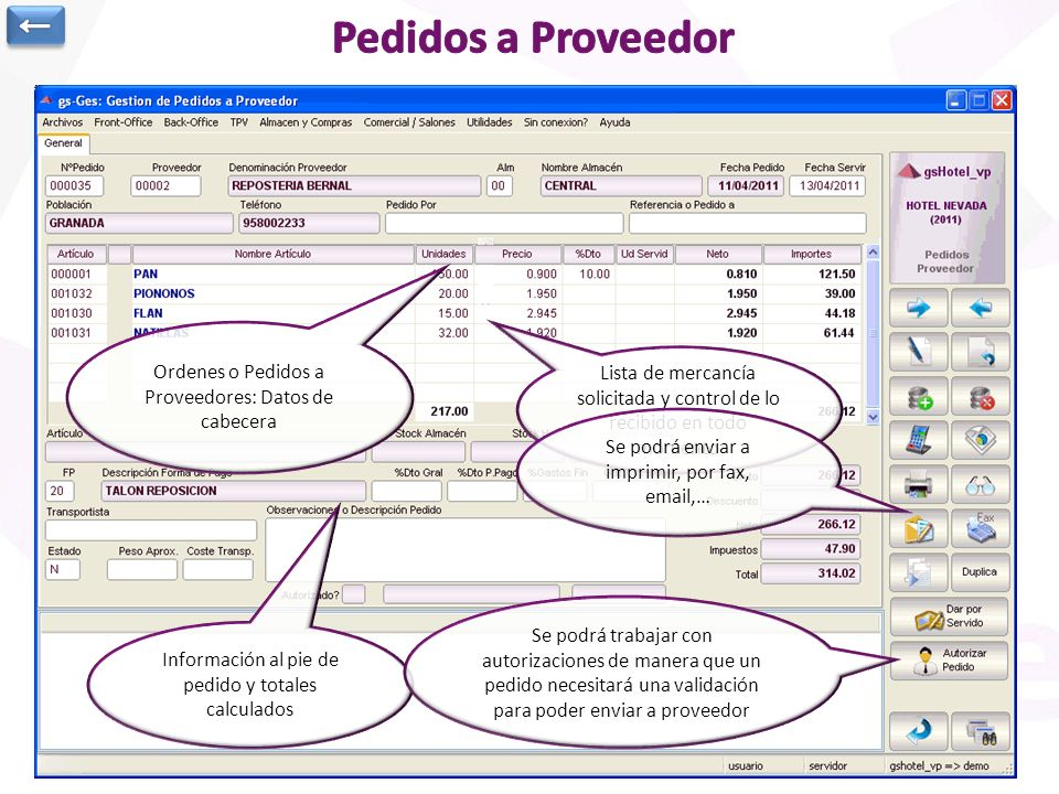 ← Pedidos a Proveedor. Ordenes o Pedidos a Proveedores: Datos de cabecera. Lista de mercancía solicitada y control de lo recibido en todo momento.