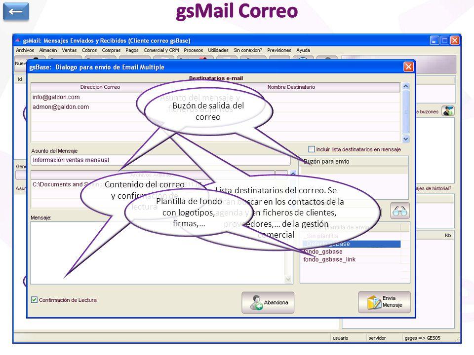 gsMail Correo ← Asunto del mensaje y ficheros adjuntos