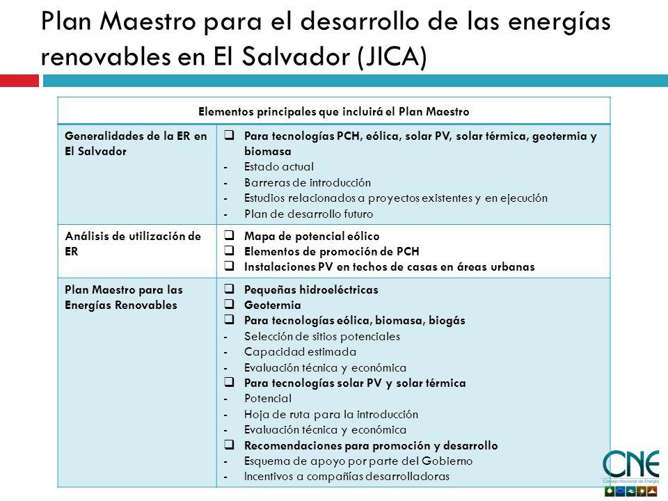 Elementos principales que incluirá el Plan Maestro