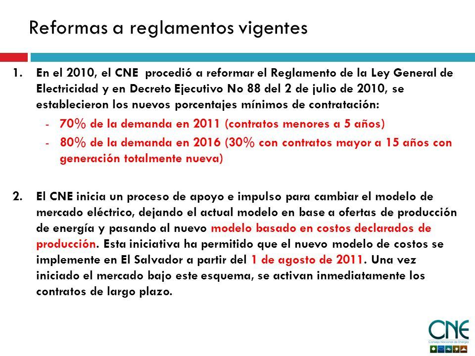 Reformas a reglamentos vigentes