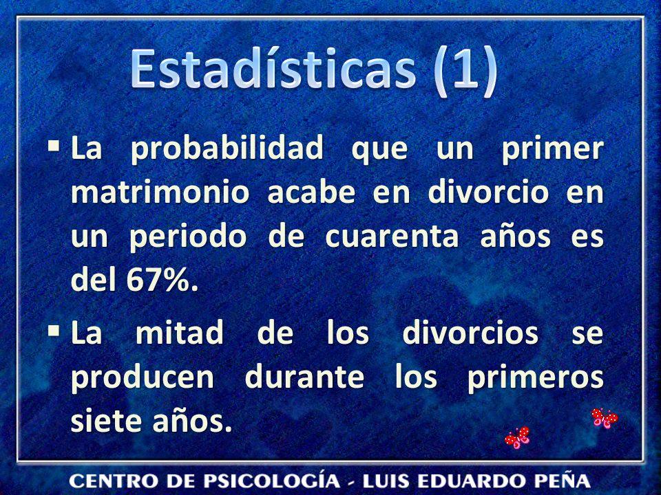 Estadísticas (1) La probabilidad que un primer matrimonio acabe en divorcio en un periodo de cuarenta años es del 67%.