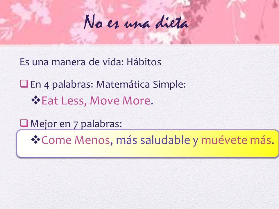 No es una dieta Eat Less, Move More.
