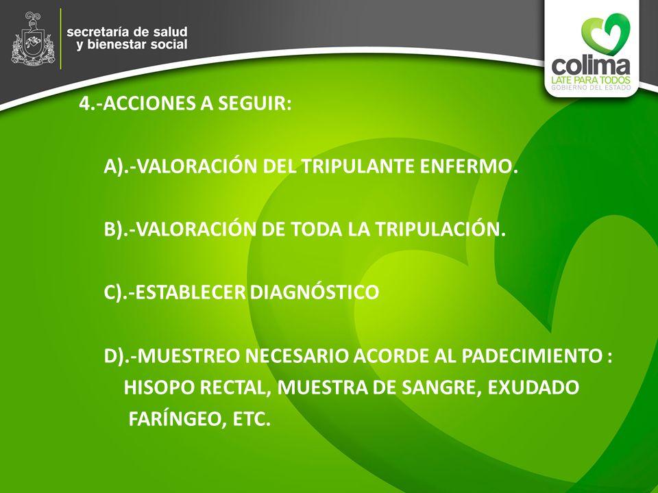 4. -ACCIONES A SEGUIR: A). -VALORACIÓN DEL TRIPULANTE ENFERMO. B)