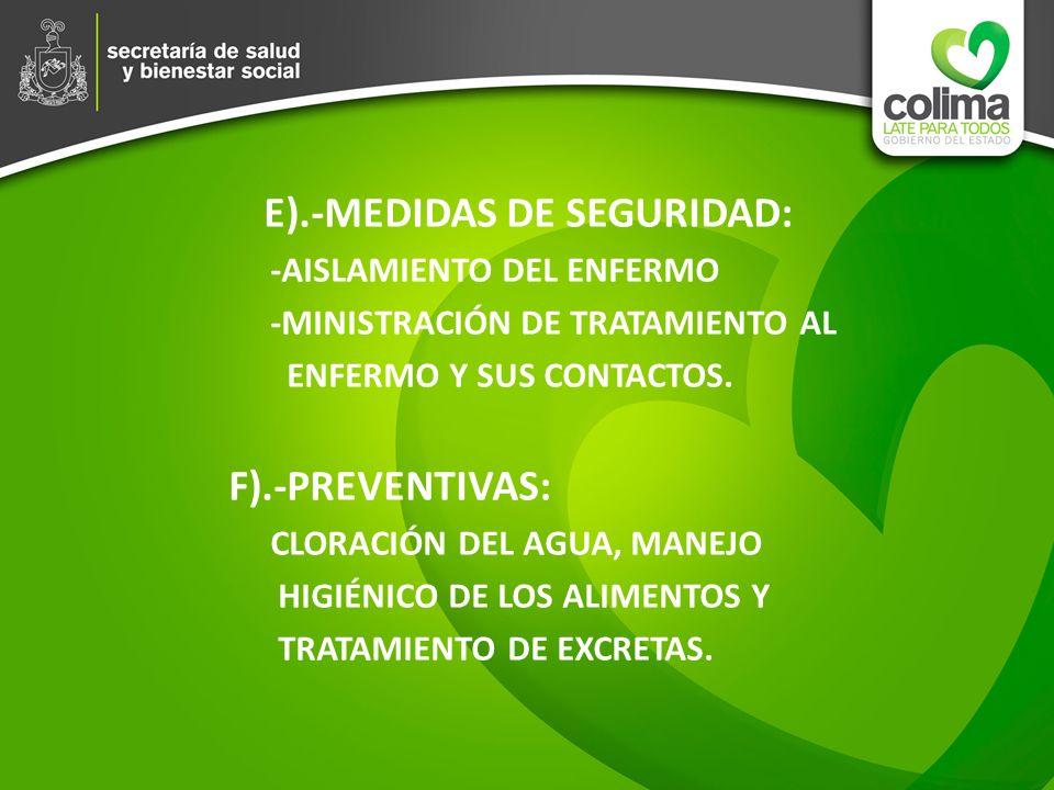 E).-MEDIDAS DE SEGURIDAD: