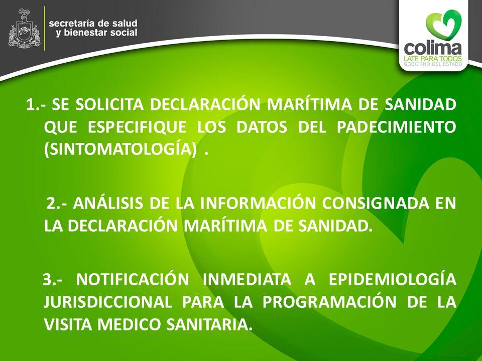 1.- SE SOLICITA DECLARACIÓN MARÍTIMA DE SANIDAD QUE ESPECIFIQUE LOS DATOS DEL PADECIMIENTO (SINTOMATOLOGÍA) .