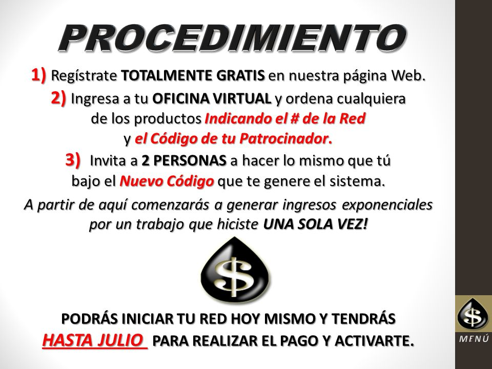 Gu a para el xito formato de pago network marketing for Oficina virtual sistema red