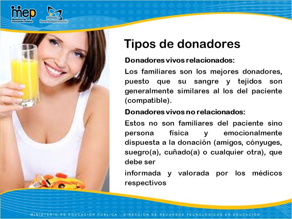 Tipos de donadores Donadores vivos relacionados: