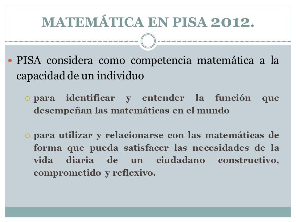 MATEMÁTICA EN PISA 2012. PISA considera como competencia matemática a la capacidad de un individuo.